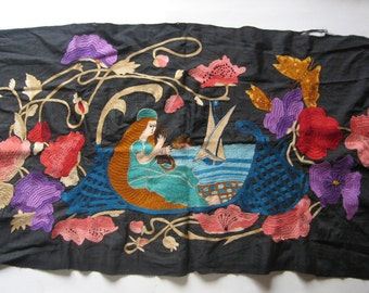 antique Greek embroidery, lady playing harp and sailing boat