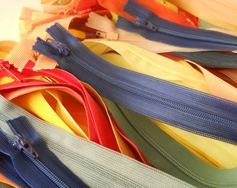 ZIPPERS, 18 inch closed end beulon, mixed colors, set of 64 zippers.
