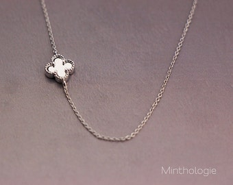 Four Leaf Clover Necklace N020 / gold fill sterling silver rose gold fill 14k lucky daisy flower bridesmaids gift