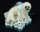 "Needle Felted Baby Harp Seal ""Aurora"" with Crystal Encrusted Wooden Snowflake Base"