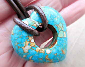 Heart Stone Necklace, Turquoise Mosaic Necklace, Boho Jewelry, Gift for Girlfriend, Earthy Jewelry, Speckled Stone Heart, Hippie Gypsy