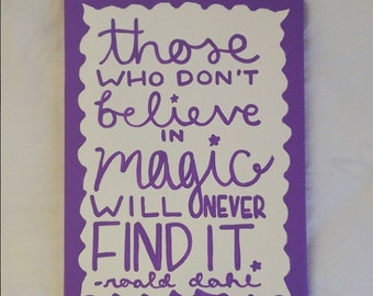 Roald Dahl Believe In Magic Canvas Quote Art
