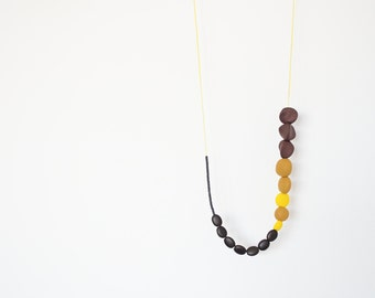 Asymmetric necklace Boho necklace Beadwork necklace Indie necklace Olive green Brown Yellow Black Metal free necklace Polymer clay necklace