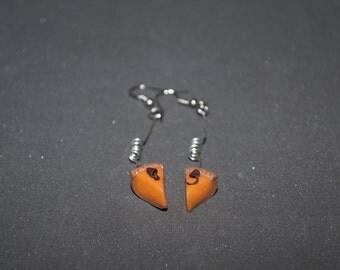 Polymer clay earrings Orange earrings Pumkin pie earrings cake earrings Miniature food Long earrings Dangle earrings Petit earrings