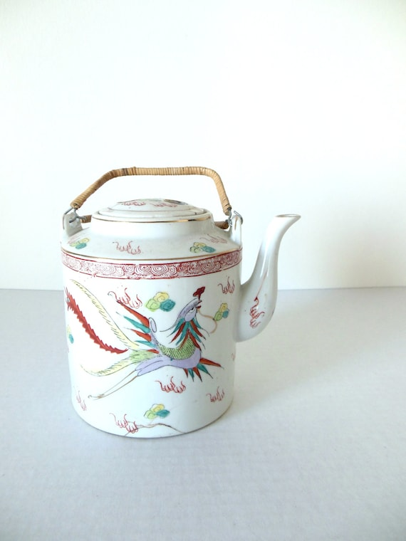 Chinese Porcelain Dragon And Phoenix Teapot Bamboo Handle