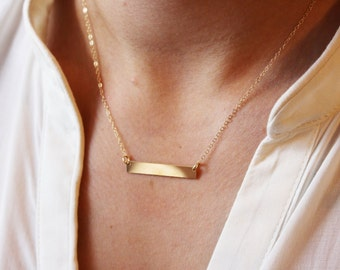 Initial Bar Necklace / Bar Initial Necklace / Personalized Bar Necklace / Gold Filled Nameplate Necklace / Engraved Bar Necklace