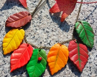 Falling leaves necklace in Fimo, Polymer clay autumn leaves leaf necklace