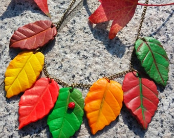 Autumn Leaves Necklace - Handmade in Polymer Clay