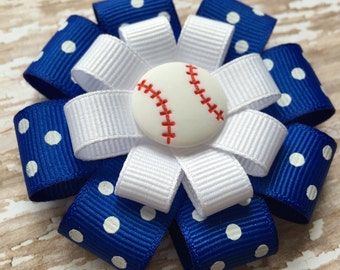 Baseball Hair Bow - Baseball Hair Bows -Baseball Hair Clip - Royal Blue & White Polka Dot Baseball Hair Bow -Baseball Polka Dot Bow