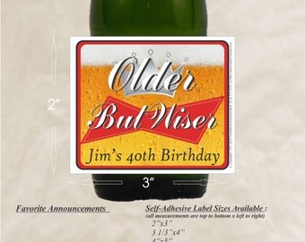 Beer Stickers, 21st Birthday Gift Ideas, Beer Labels, Adult Party Favors, Mens Birthday Gifts, 30th, 40th, Birthday, 50th (Set of 24)(LBeer)