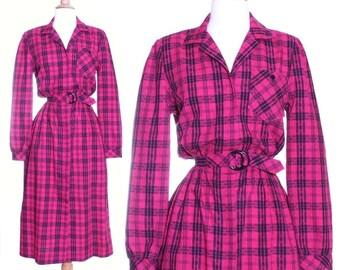 80s Fuschia plaid shirt dress - xs or small