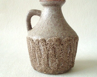 Strehla  999 vase  / pitcher vase with lava decor,  Natural stone with rough texture, Mid Century Modern  East German