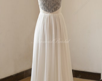 Open back/ Backless chiffon lace wedding dress,outdoor, destination a line wedding dress
