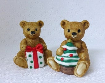 Christmas Teddy Bear Figurines, Set of Two, Homco, Vintage Home Decor, Brown Porcelain, Holding Gift and Tree