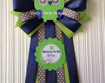 Owl Mommy-To-Be Baby Shower Corsage