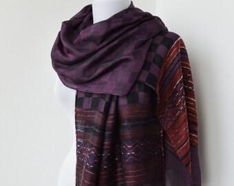 CLEARANCE SALE - Fig Purple Scarf - Fashion Scarf - Trendy Fabric Scarf - Shawl Scarf   843