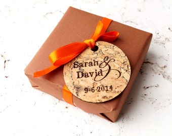 Rustic cork wedding favor tags, primitive wedding gift tags, personalized custom laser engraved favor tags, set of 25