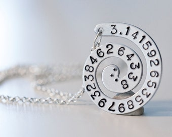 Pi Pendant Necklace, Metal-Stamped Pendant, Pi Jewelry, Math Jewelry, Spiral Necklace