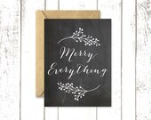 Chalkboard Christmas Card, Merry Everything, Holiday Card with Kraft Envelope