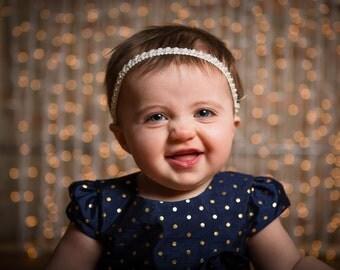 Baptism headband, christening headband, blessing headband, white baby headband, flower girl headband, pearl headband, christmas headband