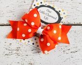 Orange Hair Bow, Orange Polka Dot Hair Bow, Orange Hairbow, Orange Hair Clip, Halloween Hair Bow, 5 inch Hair Bow, Toddler Hair Bow