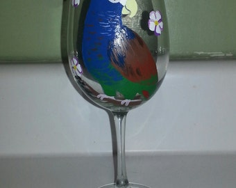White Capped Pionus wine glass