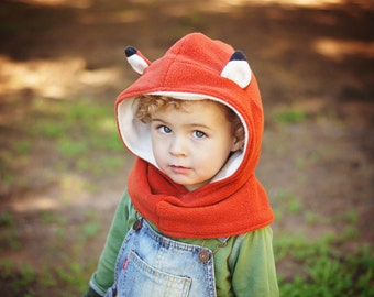 Children Fox Scarf, Kids Fox Hat, Kids Hooded Scarf, Children Hoodie Neckwarmer