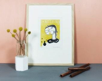 Bridget Frigid | Linoprint, linocut, blockprint, handmade print, handpulled, printmaking, yellow, grey, gray, limited edition, art, A4