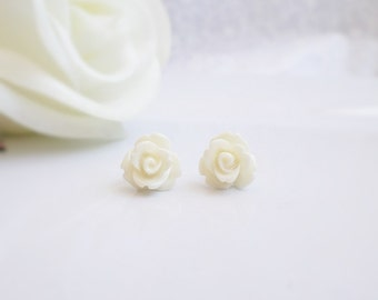 FREE US Ship Choose Your Color Flower Girl Rose Studs Resin Rose Flower Girl Stud Earrings Flower Girl Gift Girls Rose Earrings Rose Studs