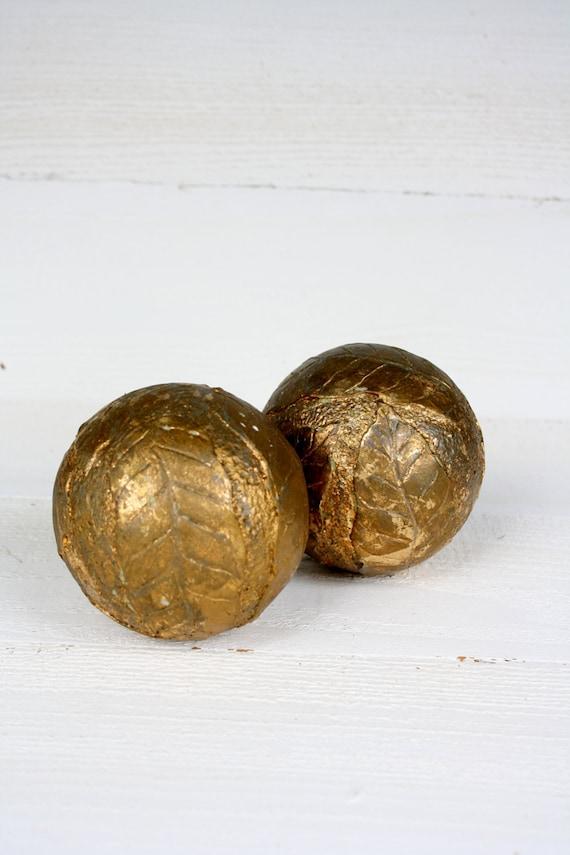 Vintage antique gold decorative balls