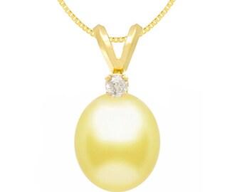 Golden South Sea Oval Pearl Pendant - Diamond Pendant - 9-10mm - 14KT Yellow Gold - Pendant - Pearl Pendant - Gold Pendant
