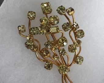 Vintage Austria Rhinestone Gold Tone Floral Sprig Brooch 1940s