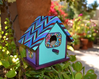 Hand Painted Chevron and Stained Glass Wooden House