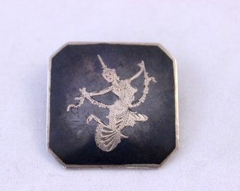 Siam Silver Brooch, Square Siam Silver Brooch, Niello Dancing Lady Brooch, Nielloware Pin, Siam Sterling Silver Brooch