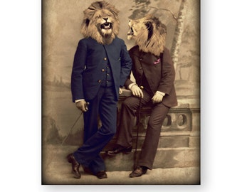 "Anthropomorphic Animal Art, Mixed Media Collage Art, Animal Head, Victorian Animals, Lion Art, Funny Gift, Surreal (3 Sizes) ""The Joke"""