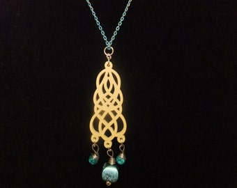 Blue Beaded Filigree Necklace