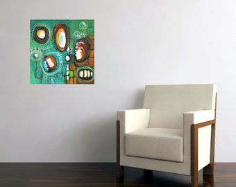 abstract painting circles turquoise amoeba midcentury green rust brown yellow geometric modern art original Leah Fitts