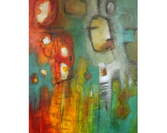original abstract painting large modern art red yellow orange green teal turquoise acrylic Simpatico shapes Leah Fitts