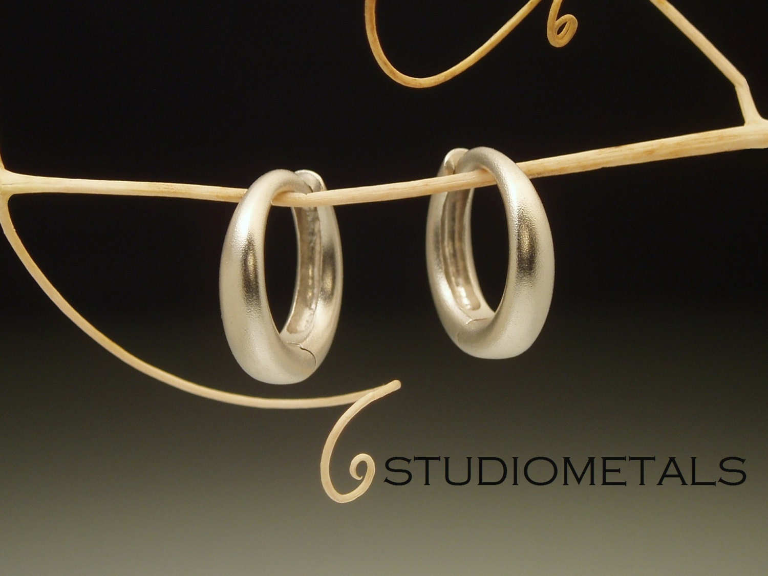 Matte Gold Hoop Earrings 14k Gold Huggies Small Gold Hoops