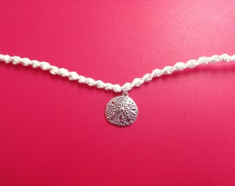 Woven White Anklet with Hanging Sand Dollar Charm