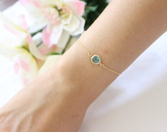 Silver version available, Aqua blue bracelet, delicate bracelet, simple bracelet, thin bracelet, child bracelet, bridesmaid gift.