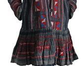 Vintage Hmong Embroidered Batik Hooded Coat (JHM-008-02)