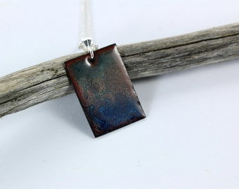 Blue Enamel Pendant, Enamel Necklace, Etched Pendant, Blue Enamel, Silver Pendant, Copper Pendant, Blue Necklace, Copper Enamel Jewelry