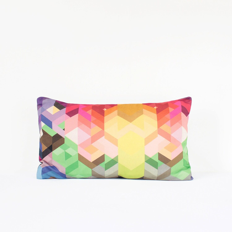 Bright Geometric Lumbar Pillow Cover In Pink Green Yellow