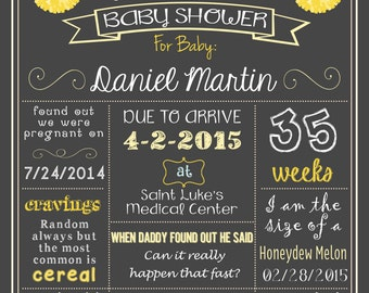 Baby Shower Poster Yellow/Grey DIGITAL FILE