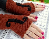Hand Knit Violin Fingerless Gloves for Violin, Viola, Cello, Bass Players, Fashion Orchestra Mitts, Valentine's Gift, Fine Gift