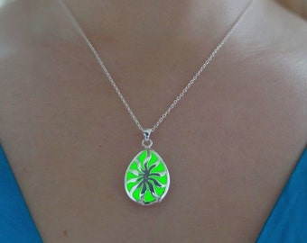 Green Glowing Necklace - Glow in the Dark Jewelry - Glowing Drop Pendant - Gift For Her - Valentines Day Gift - READY TO SHIP
