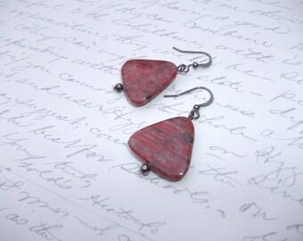 Triangle geometric stone earrings