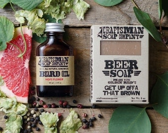 Natural Beard Care Kit // Beer Soap & Hops Flower Beard Oil //  Handmade, Vegan, Palm Free // Gifts for Men