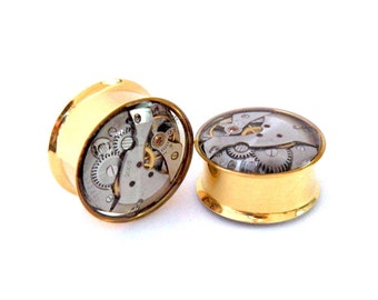 Gold & Silver Steampunk Vintage Watch Movement Ear Plugs / Tunnels  - Gears In Your Ears. 22mm / 7/8 inch gauge. Pair.